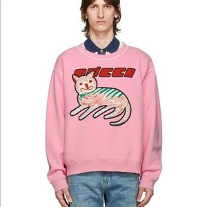 Gucci cat-print organic-cotton sweatshirt pink